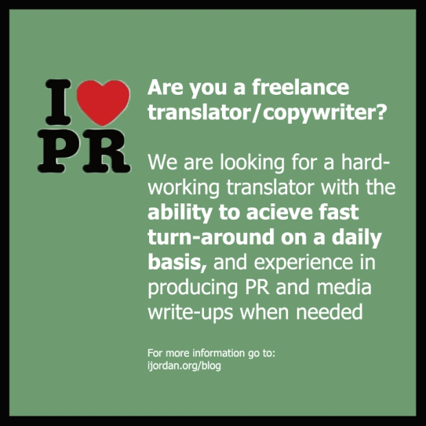 Freelance Copywriter/Translator With Fast Turn-Around Wanted – Ijordan